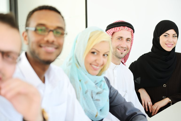 international students in class
