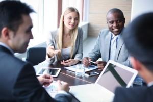 international business people in meeting
