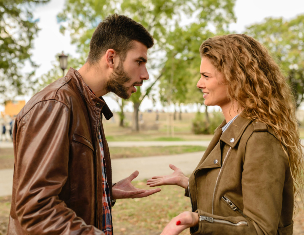 man and woman arguing in American English